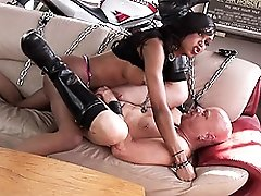 Chocolate biker tgirl banging a dude rough and hard