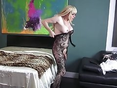 Watch behind the scenes as Jesse puts on her favorite lace body stocking and yanks her cock off on it