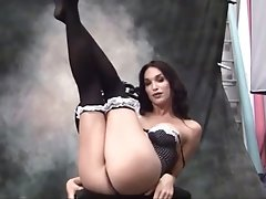 Behind the Scenes of Jonelle Showing Her Cock Off on a Black Chair