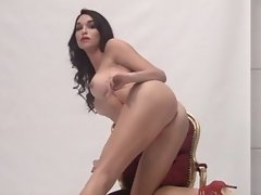 Behind the Scenes of Jonelle Jacking Off on a Red Chair