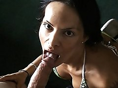 Irresistible transsexual Foxxy giving a head