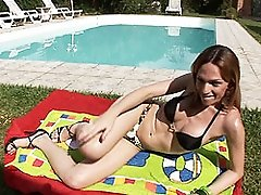 Gorgeous Alessandra Masturbating By The Pool