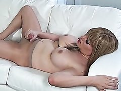 Huge cock Jesse stroking in pantyhose