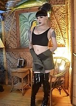 Kelly in a Sexy Safari Outfit Jacked Her Cock So Hard and Blasts Her Cum All Over the Place